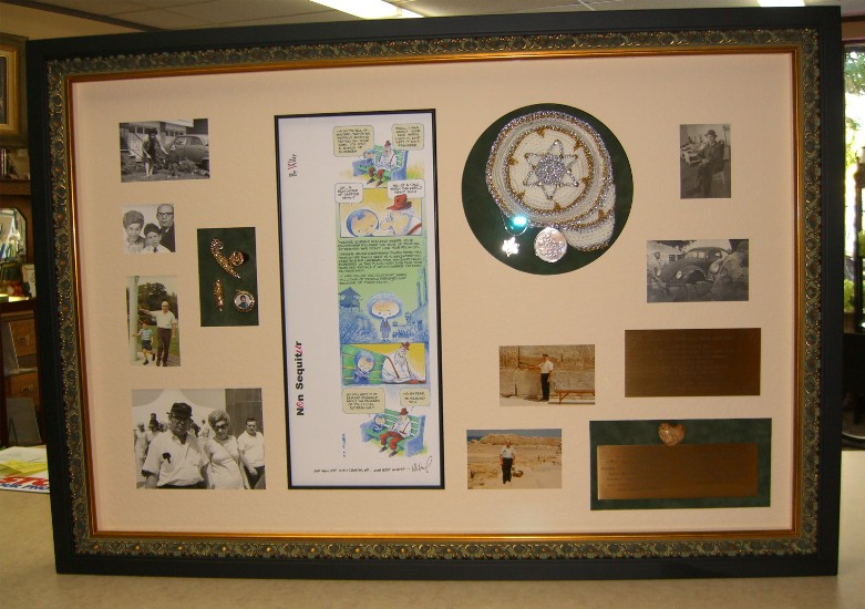 Family history memory box with photographs, jewelry, prayer cap, plaques...